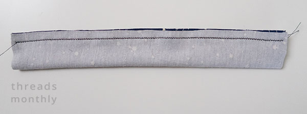 elastic casing piece for headband with zig zag stitching