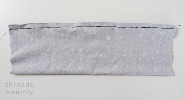 front headband piece with zig zag stitching