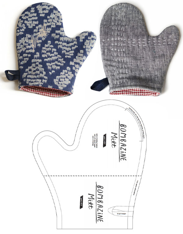 a blue and grey oven mitt, and a sewing pattern line drawing.