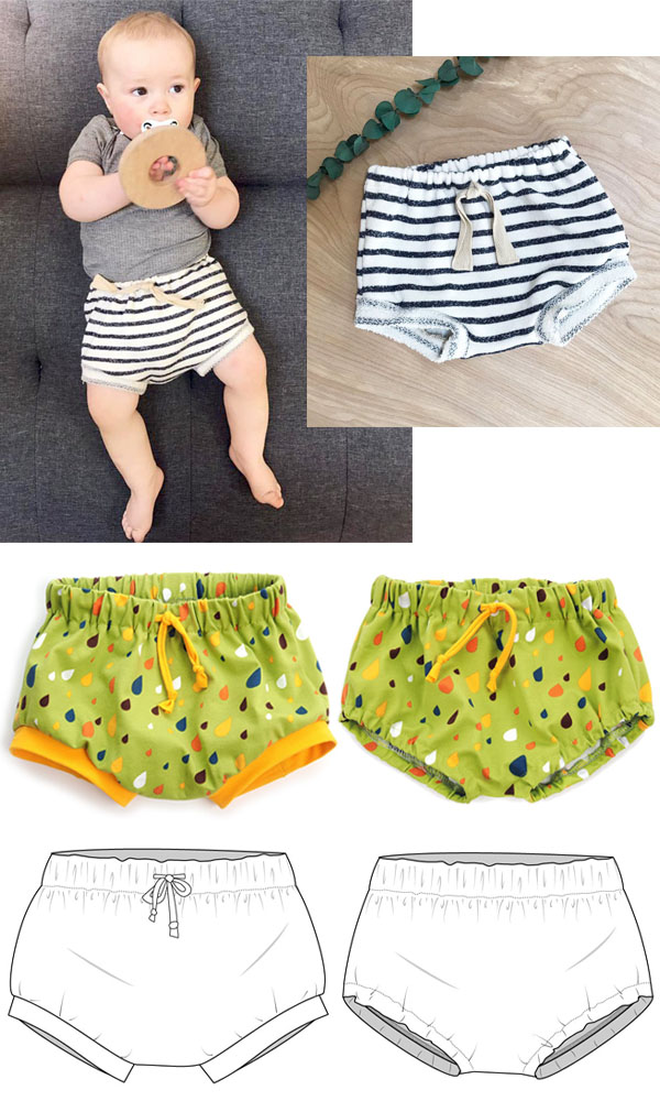 a baby wearing a striped diaper cover, 2 green diaper covers, and sewing pattern line drawings.