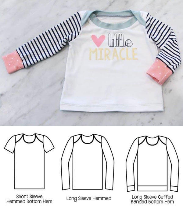 baby t-shirt with long sleeves, and free sewing pattern line drawings.