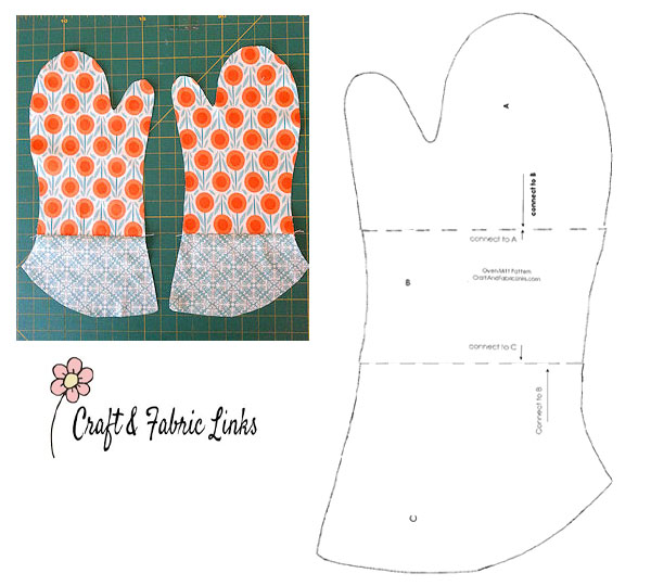 an orange printed oven mitt, and a free sewing pattern line drawing.