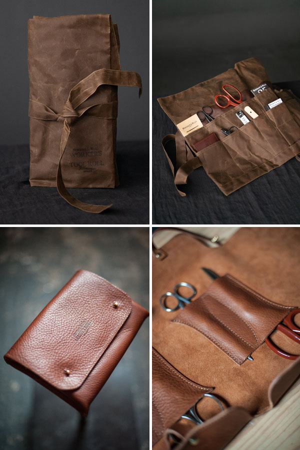 4 images of brown scissor storage pouches