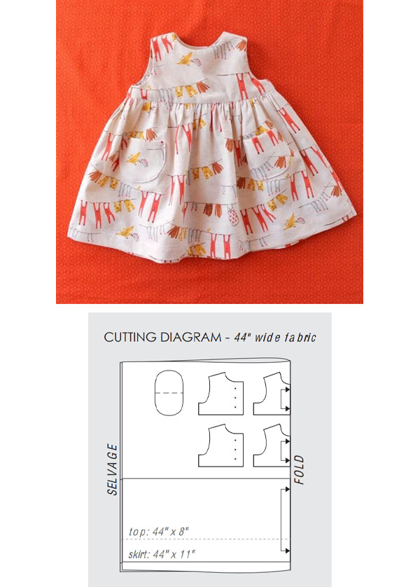 cream patterned baby dress with no sleeves, and a free sewing pattern diagram.