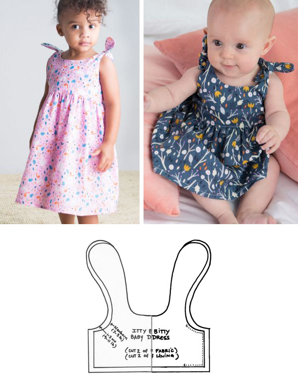 a toddler wearing a pink dress, a baby wearing a dark dress, and a free sewing pattern line drawing.