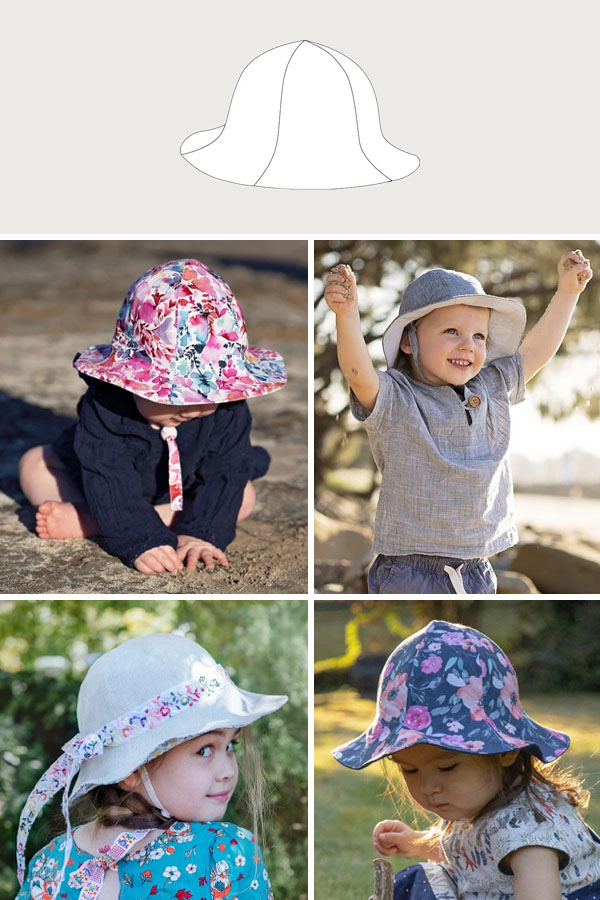 a 6-panel sun hat sewing pattern line drawing, and 4 children and babies wearing colorful sun hats.