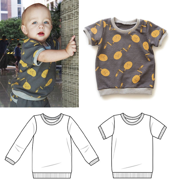 toddler boy wearing a grey t-shirt, grey t-shirt with orange pattern, and sewing pattern line drawings.