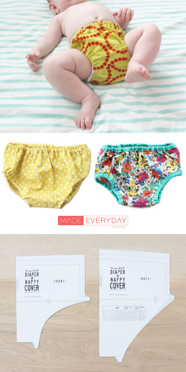 a baby wearing a yellow diaper cover, 2 diaper covers, and a printed sewing pattern.