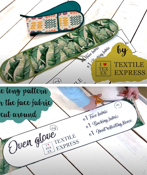 2 double oven gloves in printed fabric, and a printed sewing pattern.