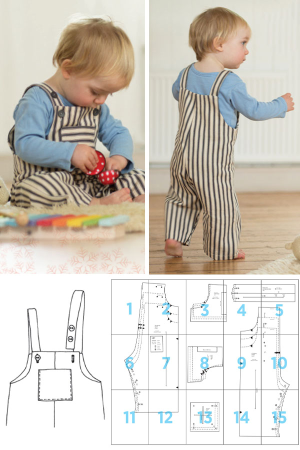 front and back view of a toddler boy wearing dungarees, and a free overalls sewing pattern line drawing.