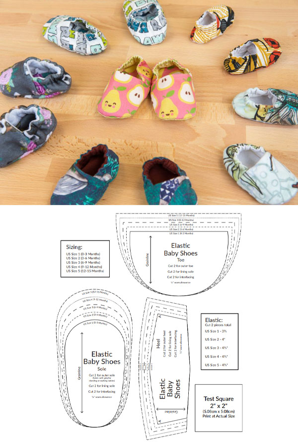 lots of fabric baby shoes in a circle, and a free printable sewing pattern.