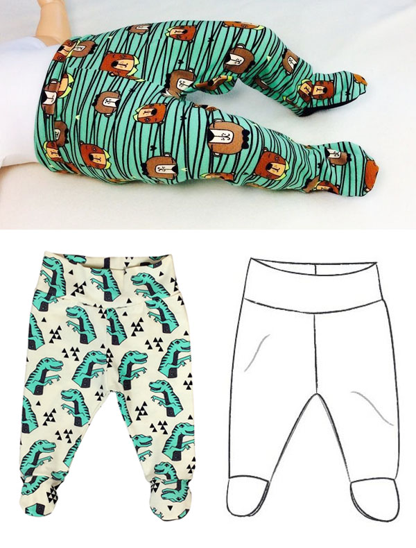 a baby wearing green footed leggings, and a sewing pattern line drawing for free footed leggings.