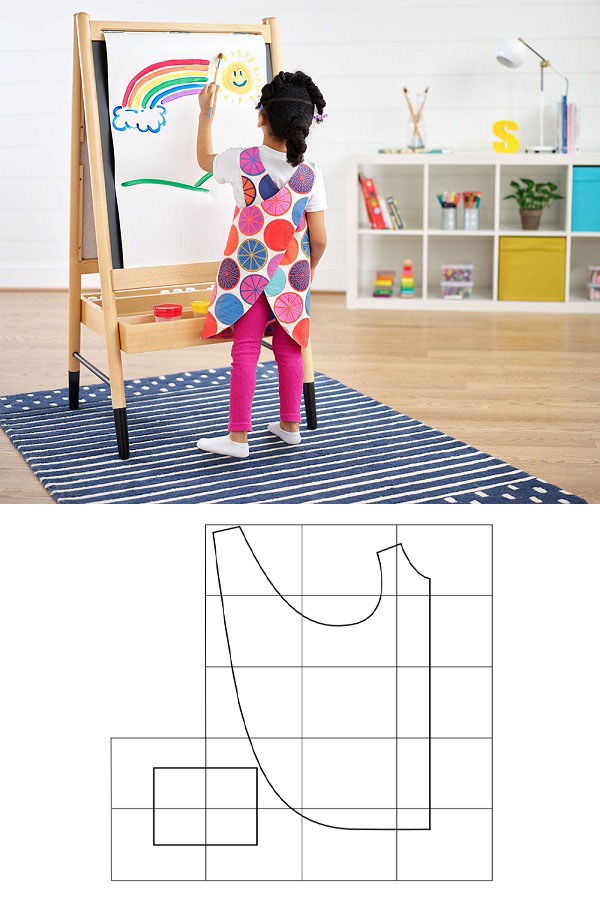 a child painting and wearing a colorful cross-back apron, and a sewing pattern line drawing for a free apron.