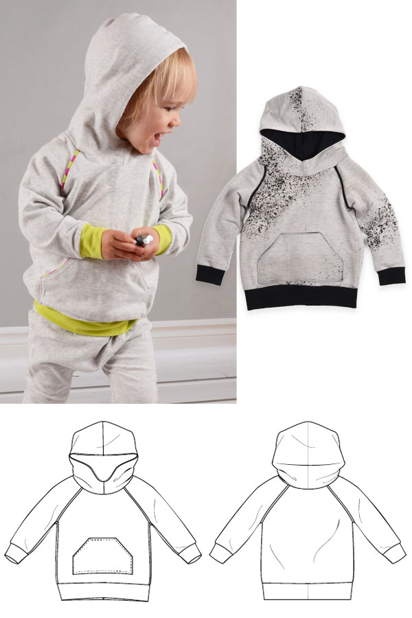 A toddler boy wearing a hoodie, a grey hoodie with black cuffs, and a free sewing pattern line drawing.