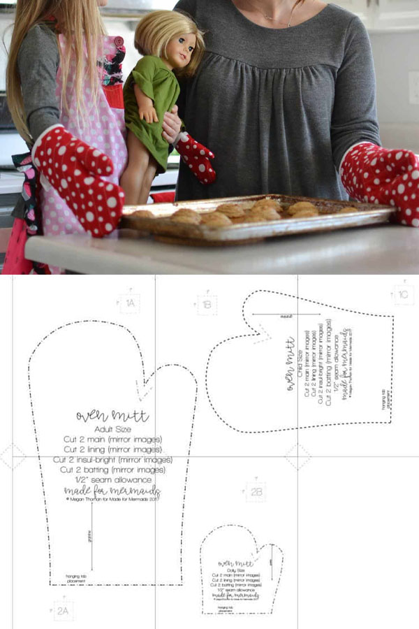 A woman, child, and doll wearing red oven mitts. And a sewing pattern line drawing.
