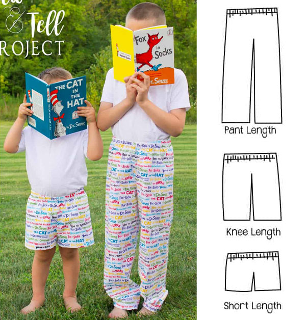 2 kids wearing pajama pants and holding books, and 3 sewing pattern line drawings for free pants with elastic waistbands.