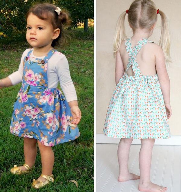 2 girls wearing diy pinafore dresses