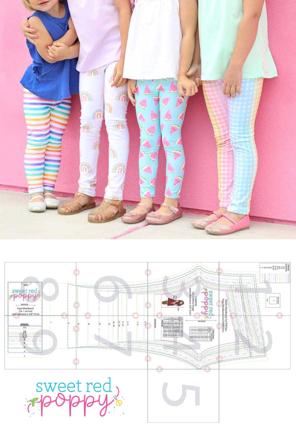 4 girls wearing colorful leggings, and a sewing pattern line drawing for free leggings.