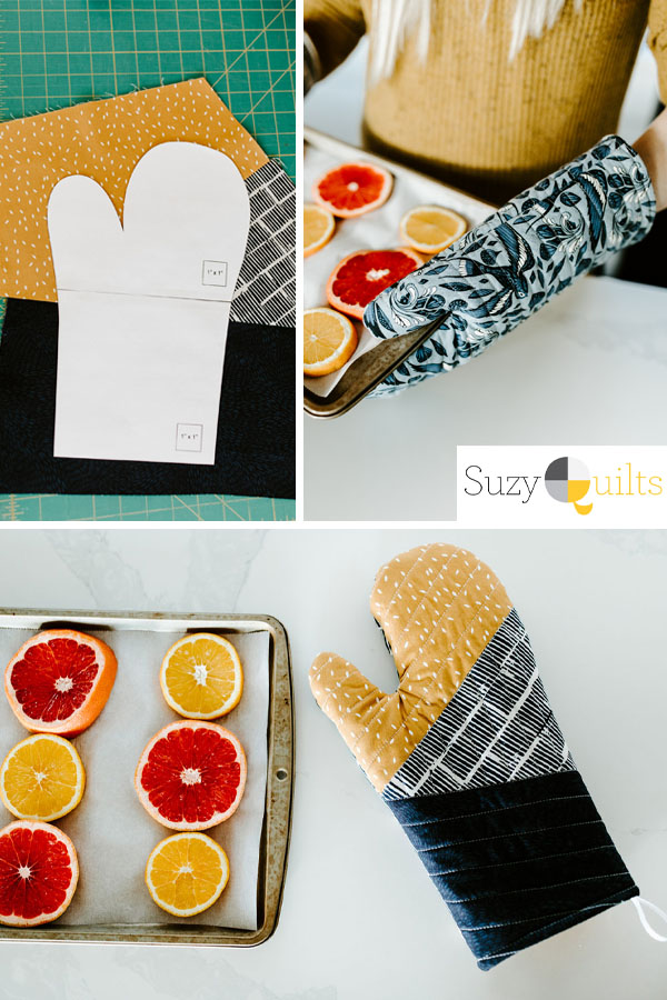 3 images: a printed oven mitt sewing pattern, a woman wearing a blue patterned oven mitt whilst holding a tray, and an oven mitt next to a tray of oranges.