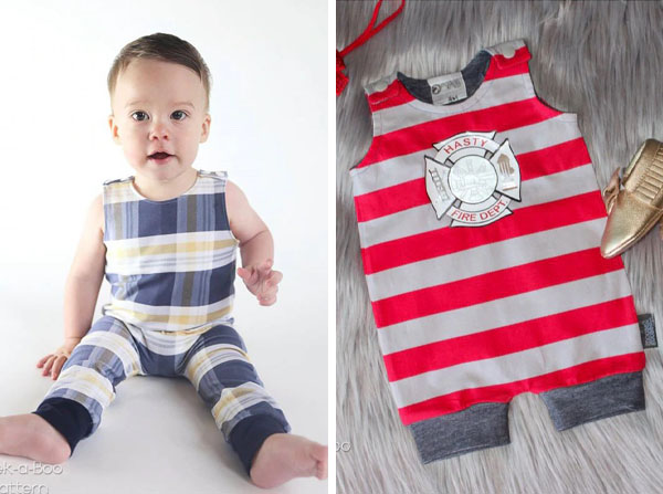 [left] a toddler wearing a check print romper, [right] red stripey romper on a carpet.