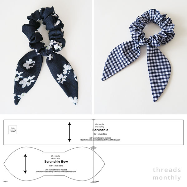 floral and check print scrunchies, and a sewing pattern line drawing for a free scrunchie with bunny ear bows.