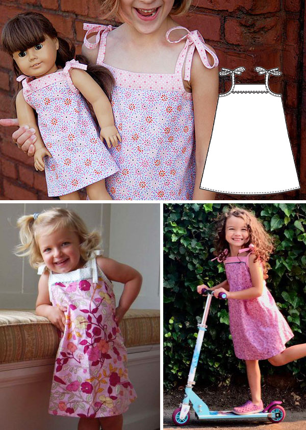 3 girls wearing pink summer dresses with shoulder ties, and a sewing pattern line drawing.