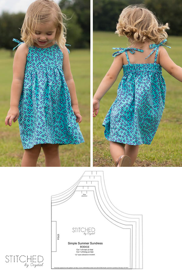 a child wearing a blue summer dress with shoulder ties, and a free sewing pattern line drawing.