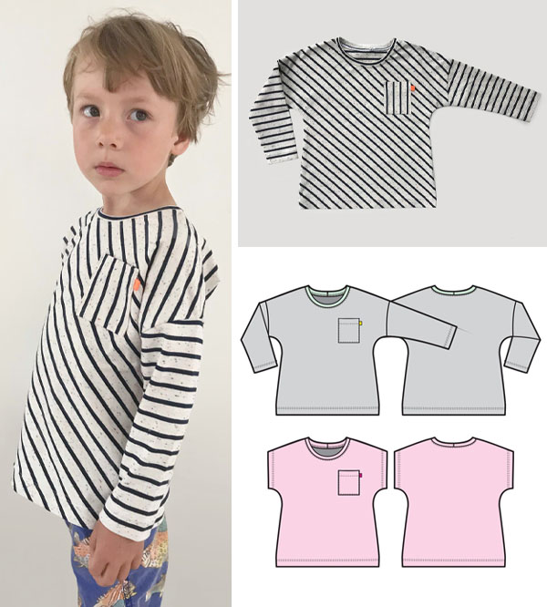a boy wearing a striped t-shirt, and sewing pattern line drawings of a free short and long sleeved top.