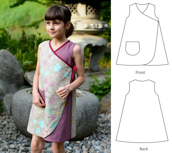 a girl wearing a multi-colored wrap dress, and the front and back view of the sewing pattern line drawings.