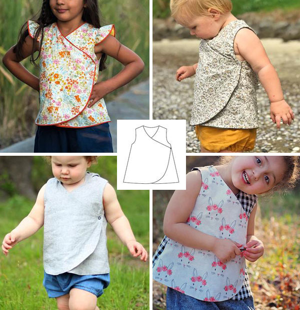 4 toddlers and children wearing a wrap top, and a sewing pattern line drawing.