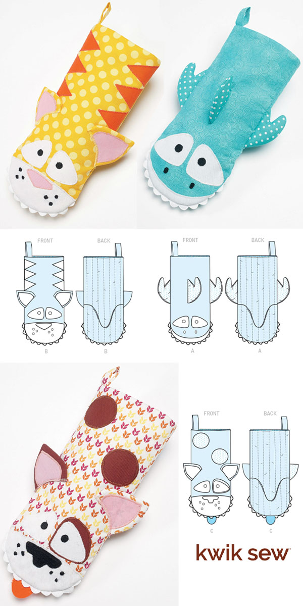 colorful diy oven mitts with animal faces, and sewing pattern line drawings.