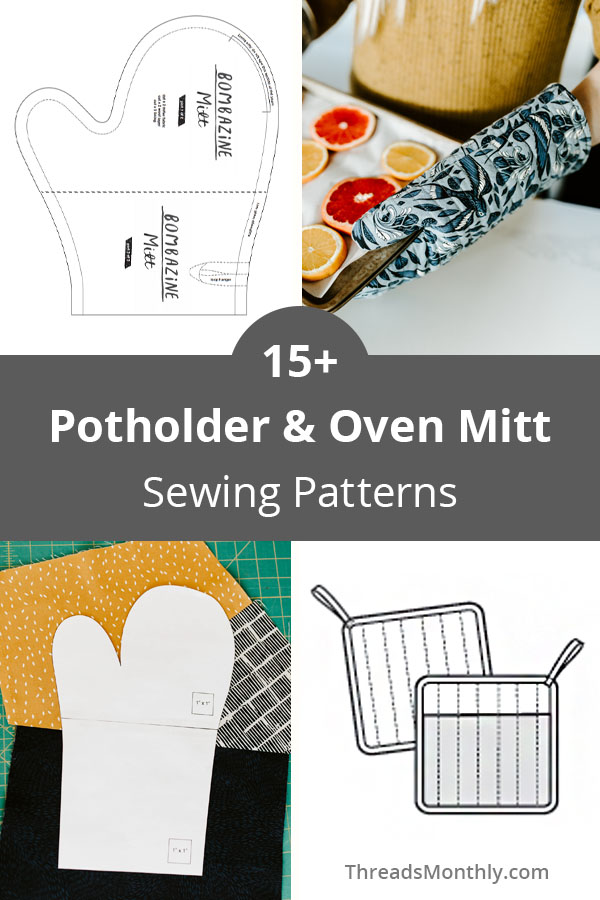 15 Sewing Patterns for Potholders & Oven Mitts (8 Free!)