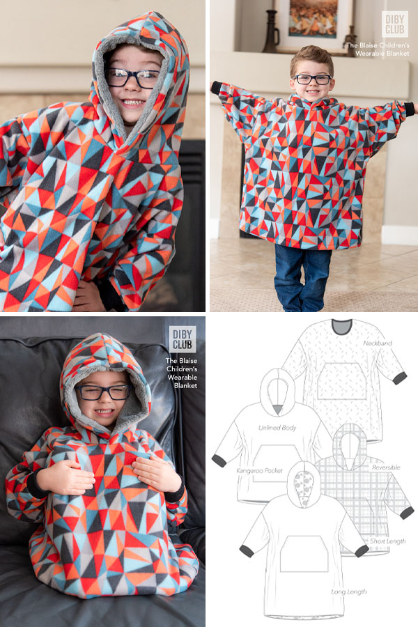 a boy wearing a colorful poncho, and sewing pattern line drawings for the free hooded poncho pattern.
