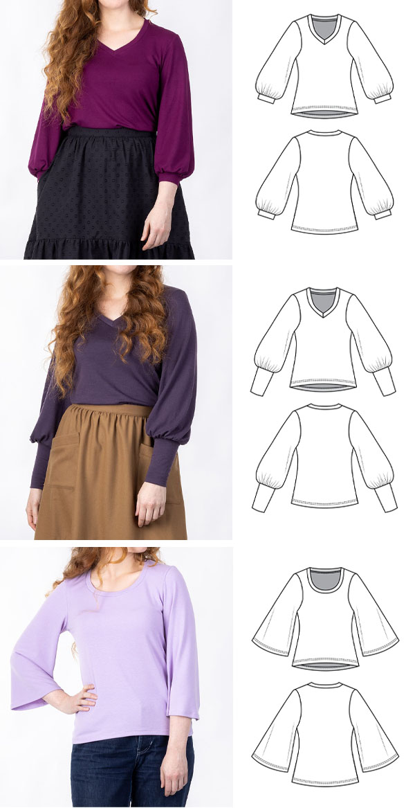 3 women wearing knit tops with long sleeves, and sewing pattern line drawings.